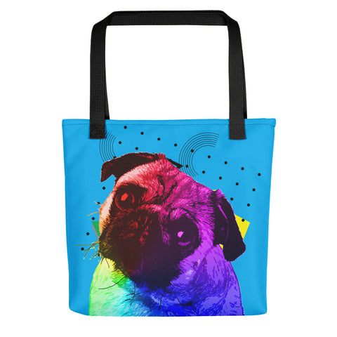 Pug Colorful Modern Art Tote Bag Black Handles