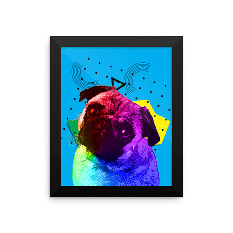 Pug Colorful Modern Art Framed Poster Wall Art Home Decor 8x10