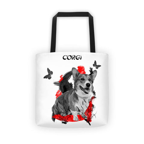 Corgi Chinese Painting - All-Over Tote Bag