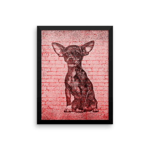 Chihuahua On Wall Framed Poster