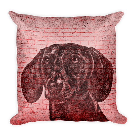 Dachshund On Wall Decorative Pillow