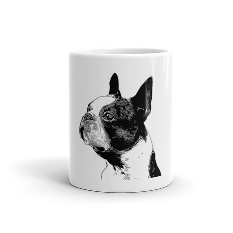 Boston Terrier Duotone Comic 11oz Mug - Front View