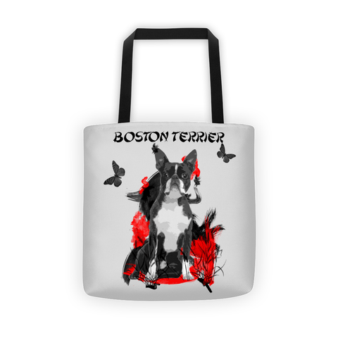 Boston Terrier Chinese Painting / Silver - All-Over Tote Bag