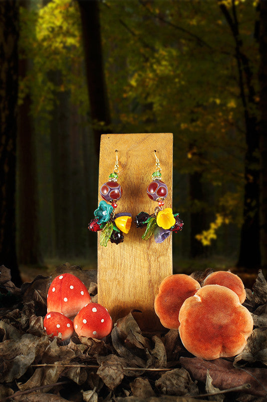Blackberries and raspberries earrings charms