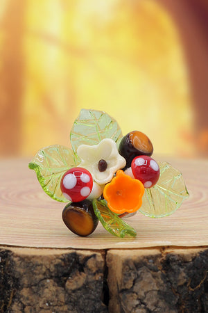 Mushrooms and flowers ring