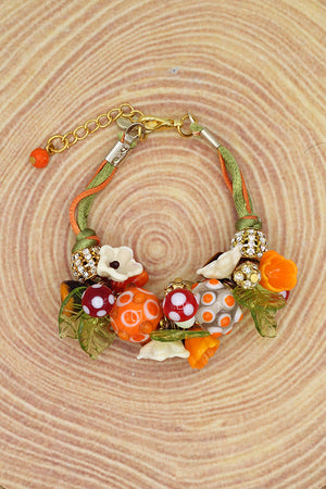 Mushrooms and flowers bracelet
