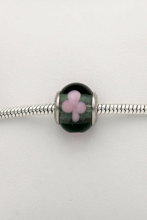 Transparent light grey with pink flowers trollbead