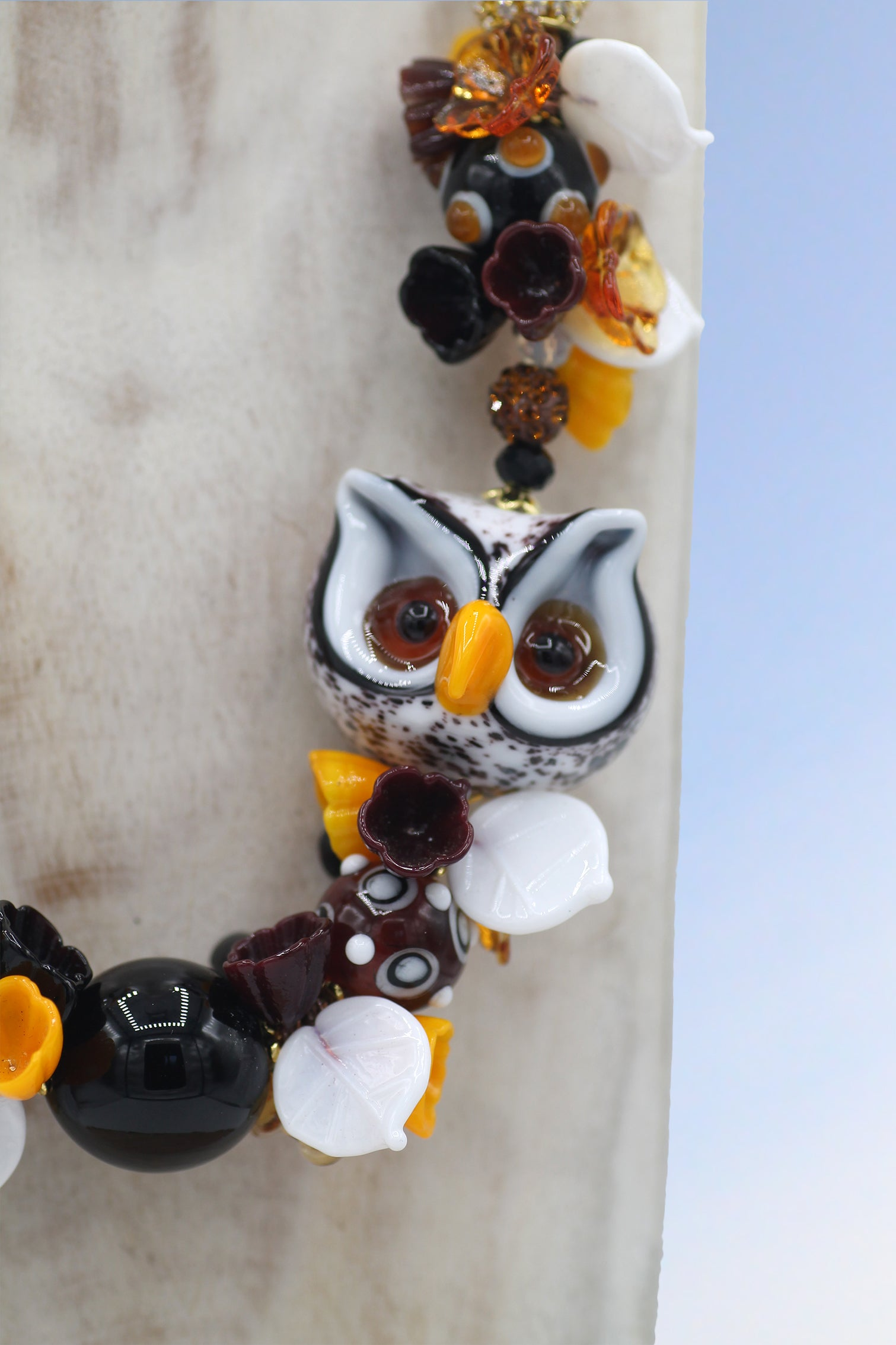"White owl ""Monte Bianco"" necklace"