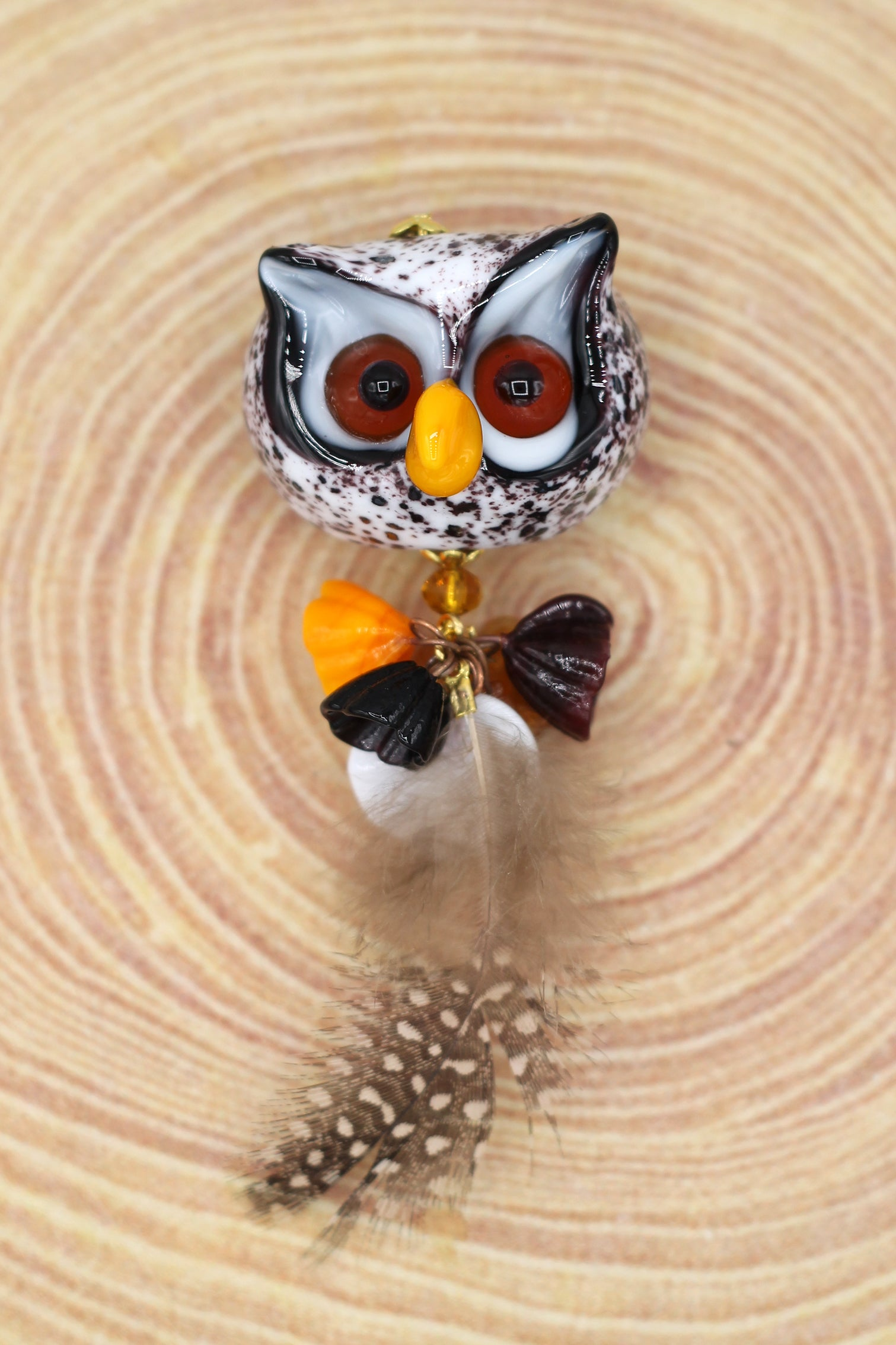 White owl brooch