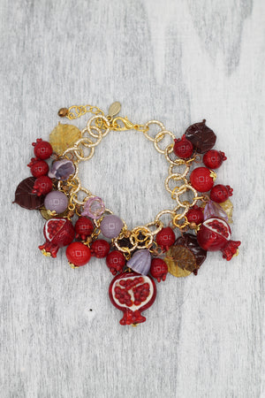 Pomegranate bracelet charms