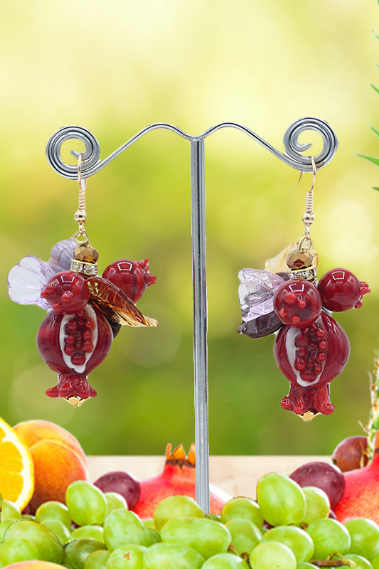 Pomegranate round earrings