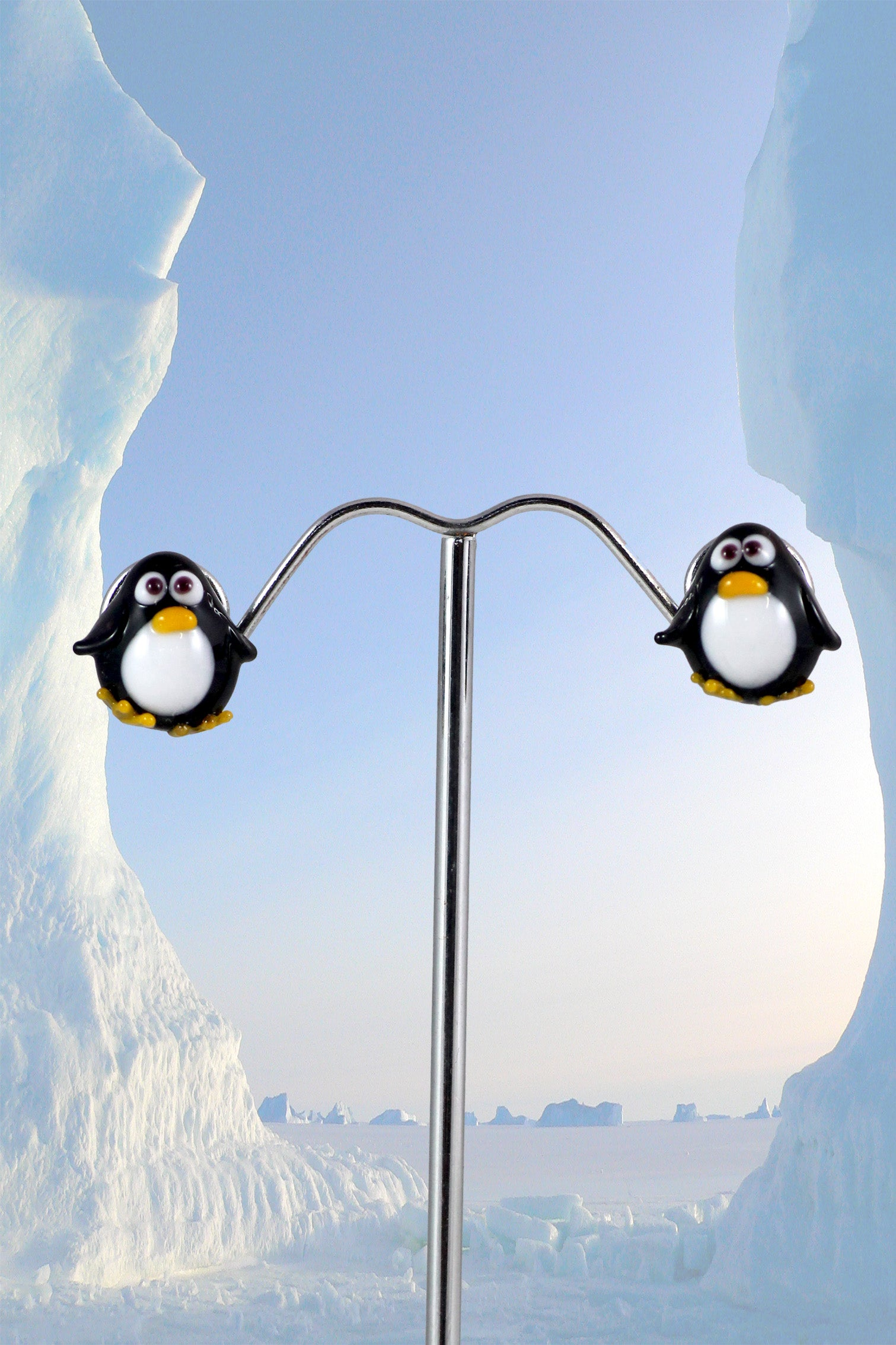 Penguin earrings stud