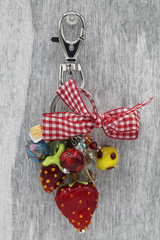 Strawberries keyring