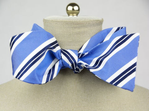 Carolina Blue Striped Bow Tie
