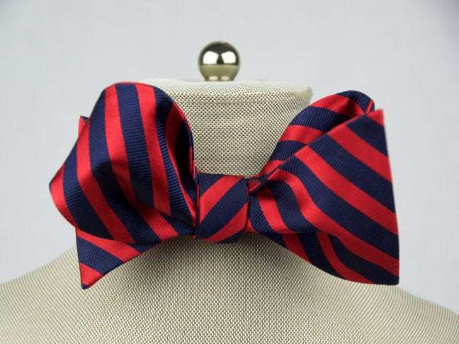 Red & Navy Stripe Bow Tie