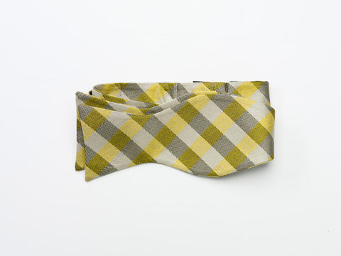 Yellow and Black Plaid Bow Tie-tie your own style