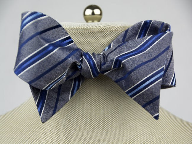 Grey Blue Stripe Bow Tie