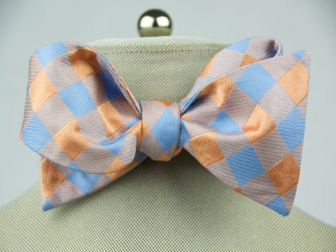 Tangerine Plaid Bow Tie