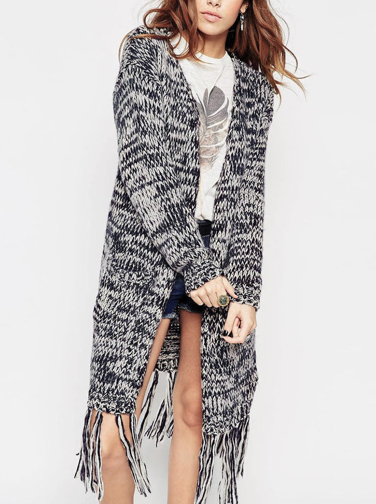 Chunky Cardigan With Fringing