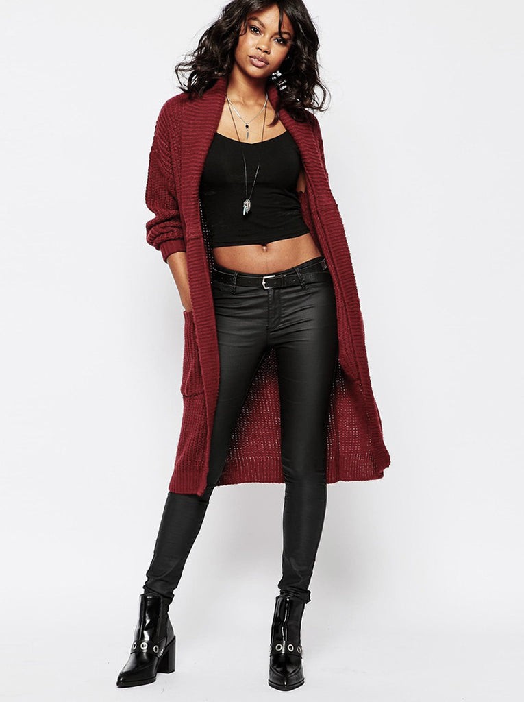 Chunky Knit Long Line Cardigan