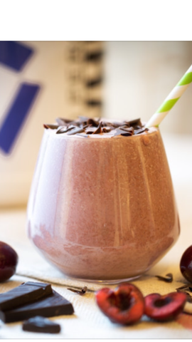 Chocolate and berry protein smoothie