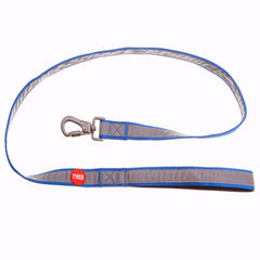 classic blue reflective dog leash with red and white tyker logo