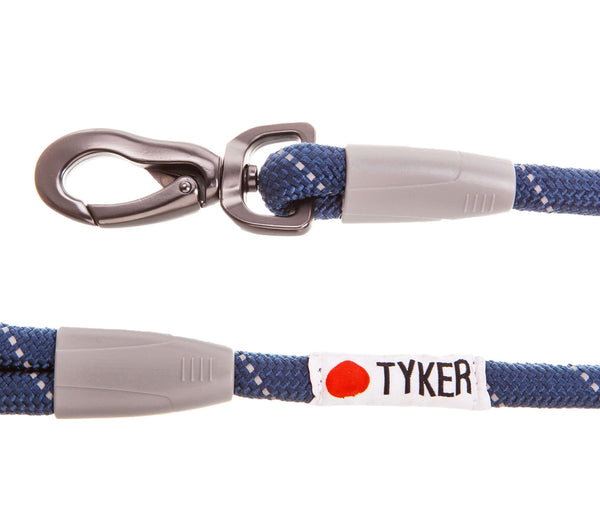 close up of a blue rope dog leash with tyker logo and metal clip