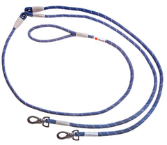double blue climbing rope dog leash with white and black tyker logo and metal clips