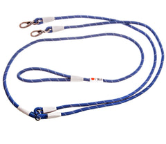 image of a blue double rope dog leash