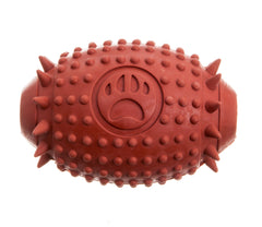brown rubber rugby shaped treat dispenser dog toy