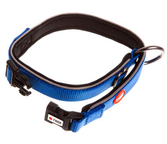 image of a blue dog collar with reflective piping, red and white tyker logo, tyker branded clip and metal ring
