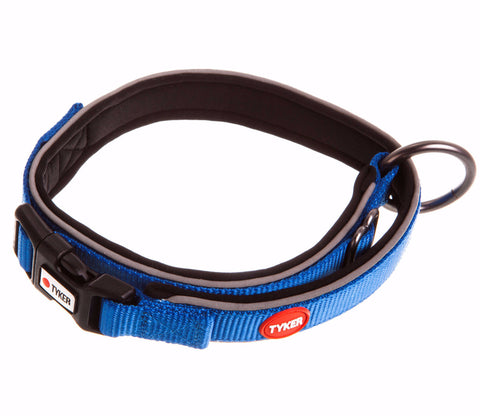 blue dog collar with reflective piping, red and white tyker logo, tyker branded clip and metal ring