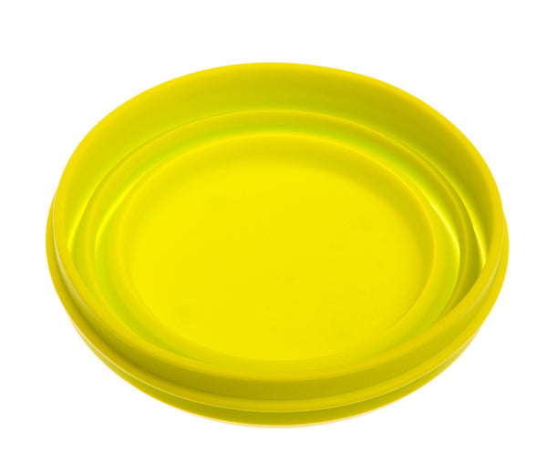 folded yellow collapsible foldable retractable travel dog bowl