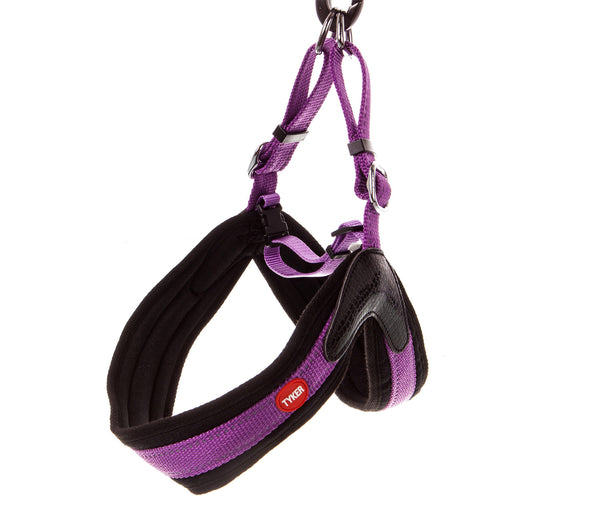 hanging purple dog collar with black padding and red and white tyker logo