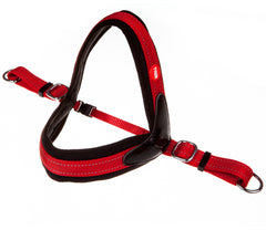 red and black non pull dog harness with red and white tyker logo