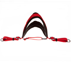 red and black non pull dog harness with red straps