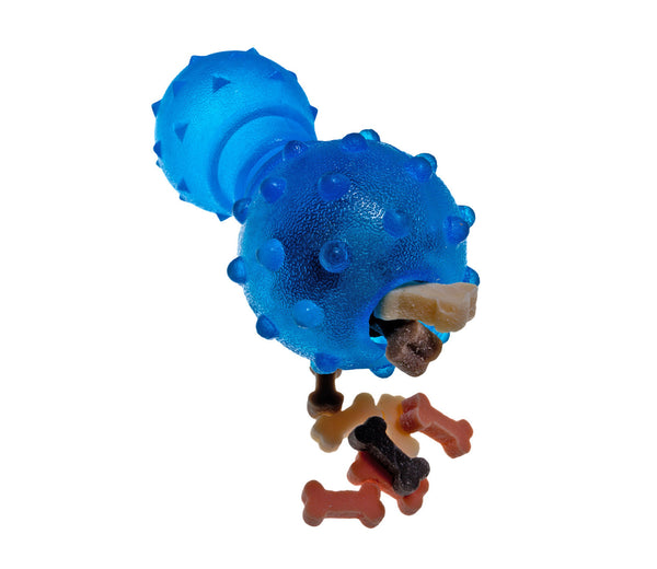 blue rubber bone dog toy filled with dog treats