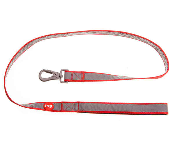 classic red reflective dog leash with red and white tyker logo