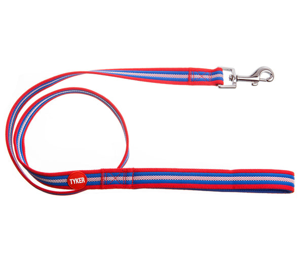 multicolored striped dog leash with red and white tyker logo and metal clip