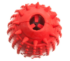 side of a red rubber rugby dispenser dog toy