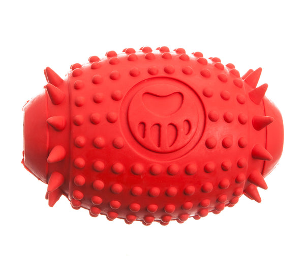 red rubber rugby treat dispenser dog toy