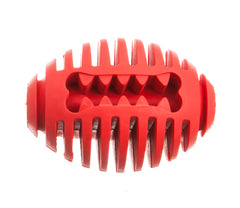 red rugby shaped dog ball feeder toy