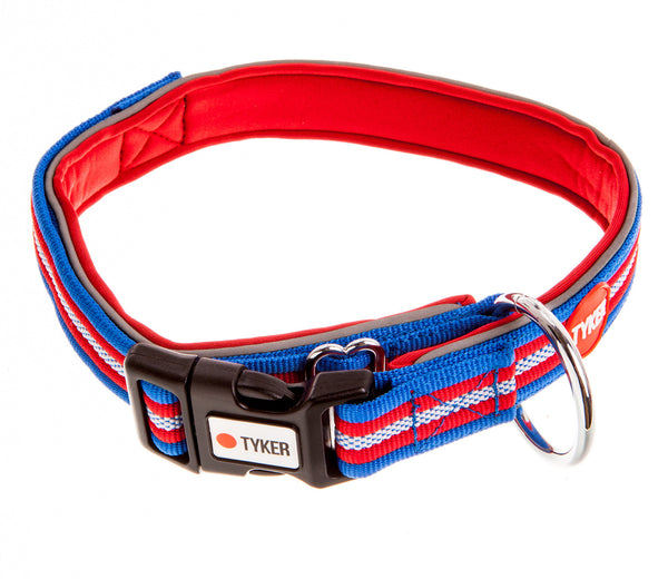 multicolored striped dog collar with red padding and tyker branded clip