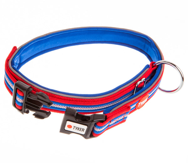 multicolored striped dog collar with blue padding and tyker branded clip