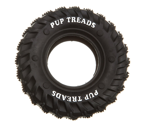 black rubber hollow tyre dog toy