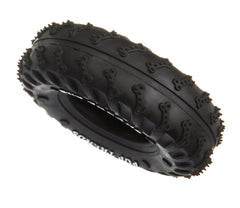 side of a black hollow tyre dog toy