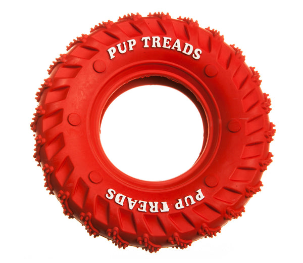 red rubber hollow tyre dog toy