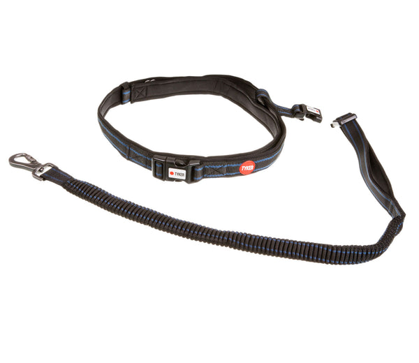 black and blue hands free running dog leash with red and white tyker logo , tyker branded clip and metal d ring
