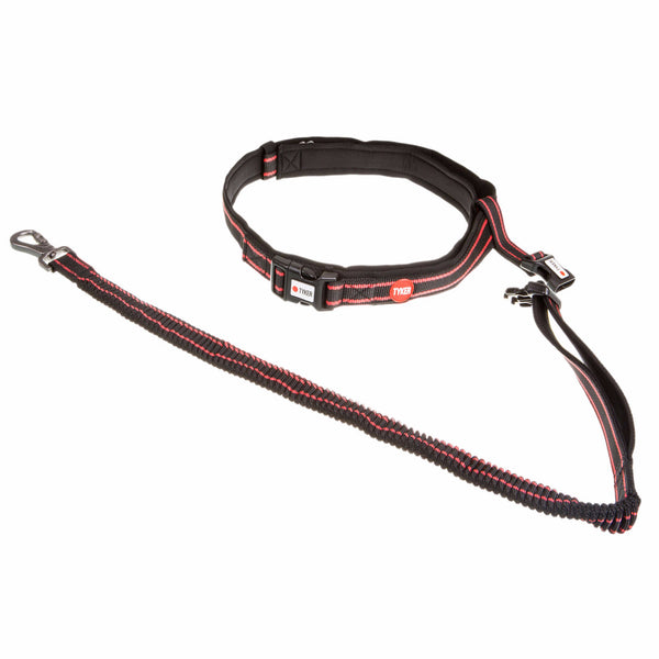 black and red hands free running dog leash with red and white tyker logo , tyker branded clip and metal d ring