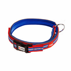 stripy dog collar blue red and white striped with black buckle and white and black tyker logo
